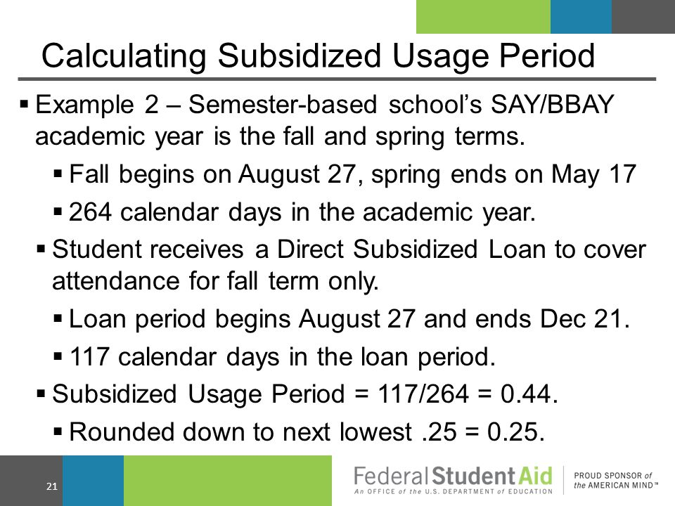 Calculating Subsidized Usage Period  Example 2 – Semester-based school's SAY/BBAY academic year is the fall and spring terms.