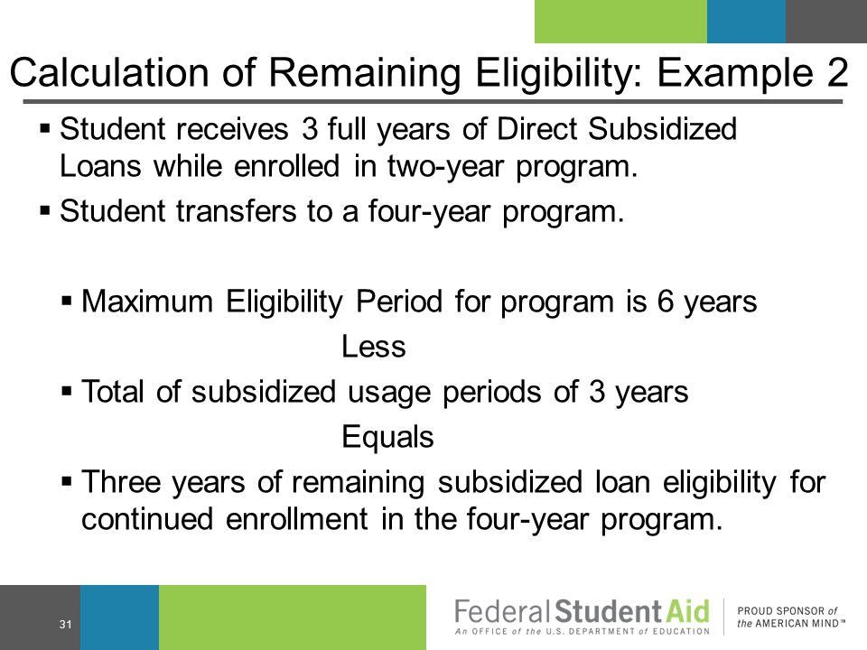 Calculation of Remaining Eligibility: Example 2  Student receives 3 full years of Direct Subsidized Loans while enrolled in two-year program.