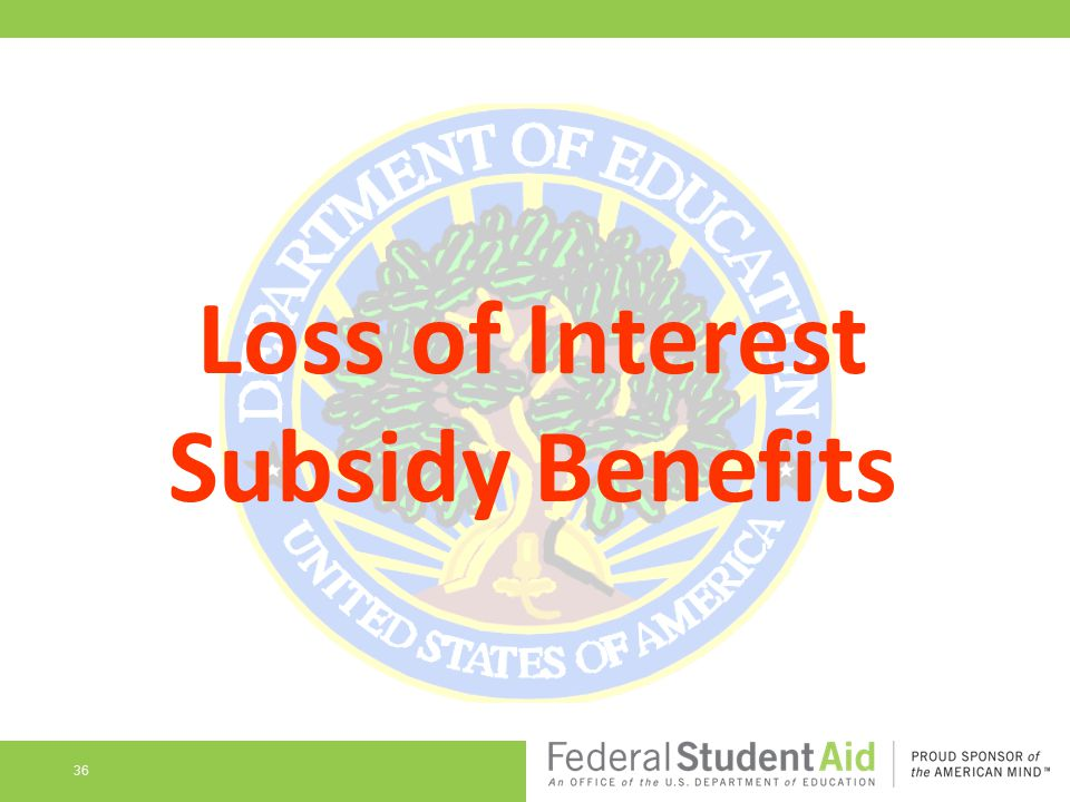 Loss of Interest Subsidy Benefits 36