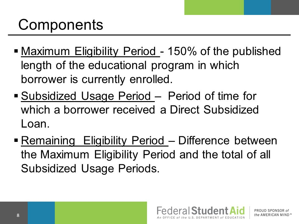 Calculation of Remaining Eligibility Maximum Eligibility Period, less Total of Subsidized Usage Periods equals Remaining Eligibility Period *150% Limit Met when Remaining Eligibility Period equals zero (or less than zero).