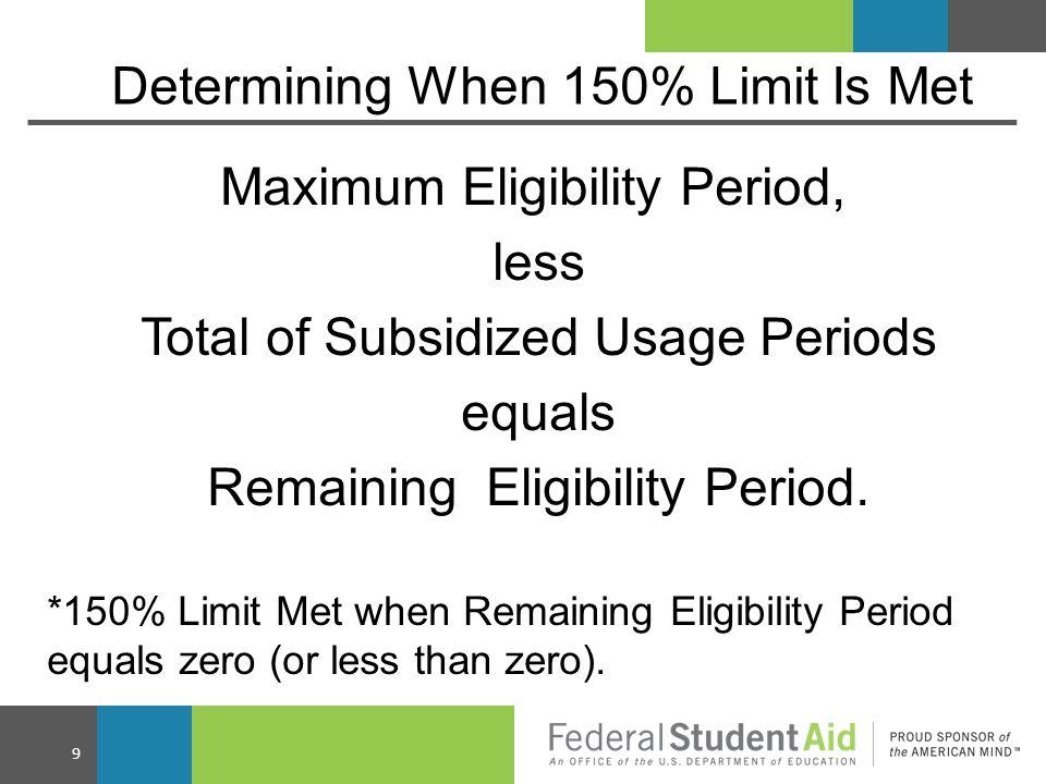 Example #1  Borrower enrolls in a four-year program - Maximum eligibility period is 6 years.