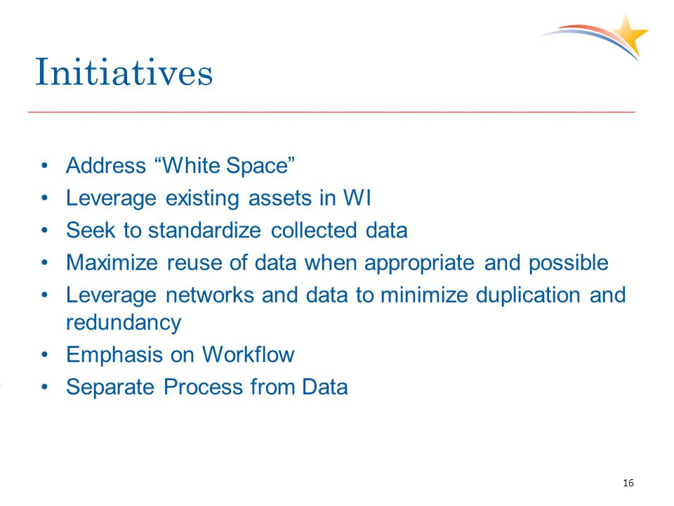 """Initiatives Address """"White Space"""" Leverage existing assets in WI Seek to standardize collected data Maximize reuse of data when appropriate and possib"""