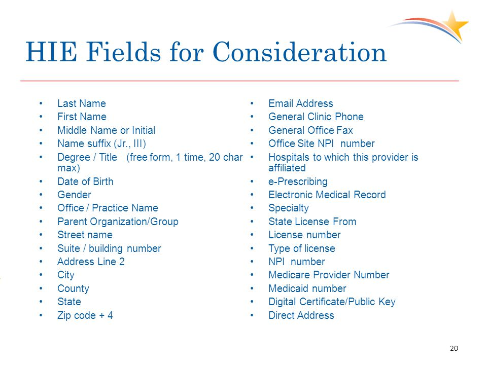 HIE Fields for Consideration Last Name First Name Middle Name or Initial Name suffix (Jr., III) Degree / Title (free form, 1 time, 20 char max) Date of Birth Gender Office / Practice Name Parent Organization/Group Street name Suite / building number Address Line 2 City County State Zip code + 4 Email Address General Clinic Phone General Office Fax Office Site NPI number Hospitals to which this provider is affiliated e-Prescribing Electronic Medical Record Specialty State License From License number Type of license NPI number Medicare Provider Number Medicaid number Digital Certificate/Public Key Direct Address 20