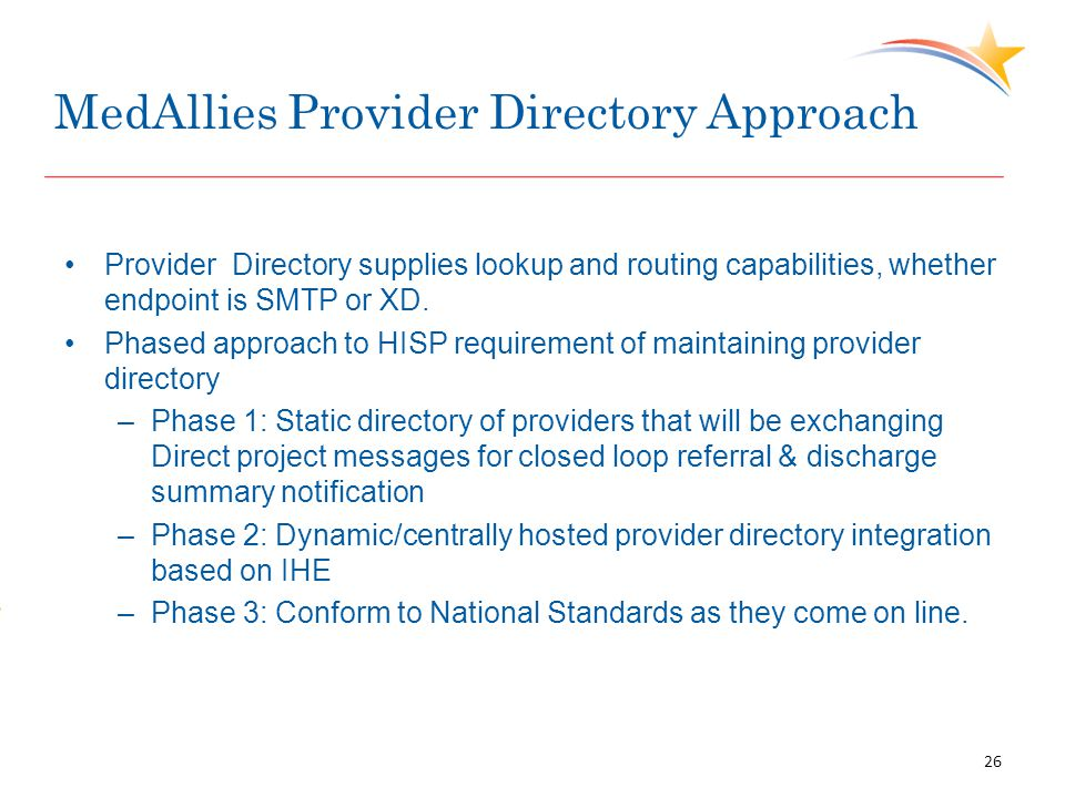 MedAllies Provider Directory Approach Provider Directory supplies lookup and routing capabilities, whether endpoint is SMTP or XD. Phased approach to