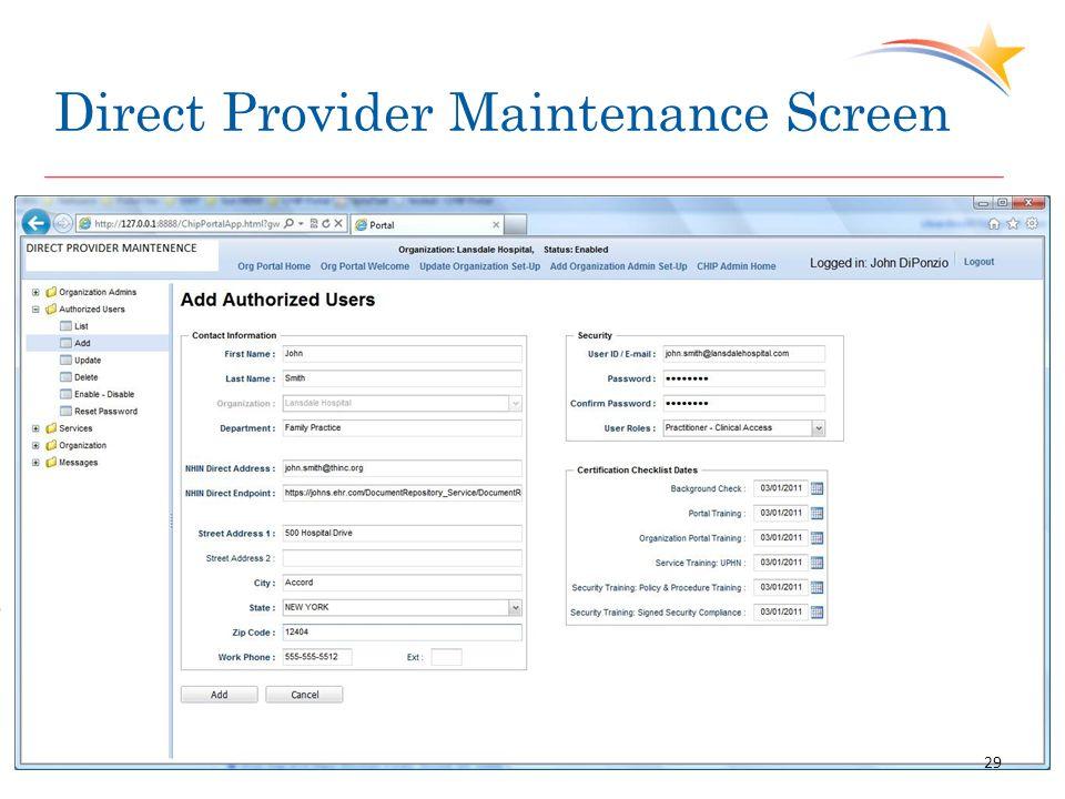 Direct Provider Maintenance Screen 29