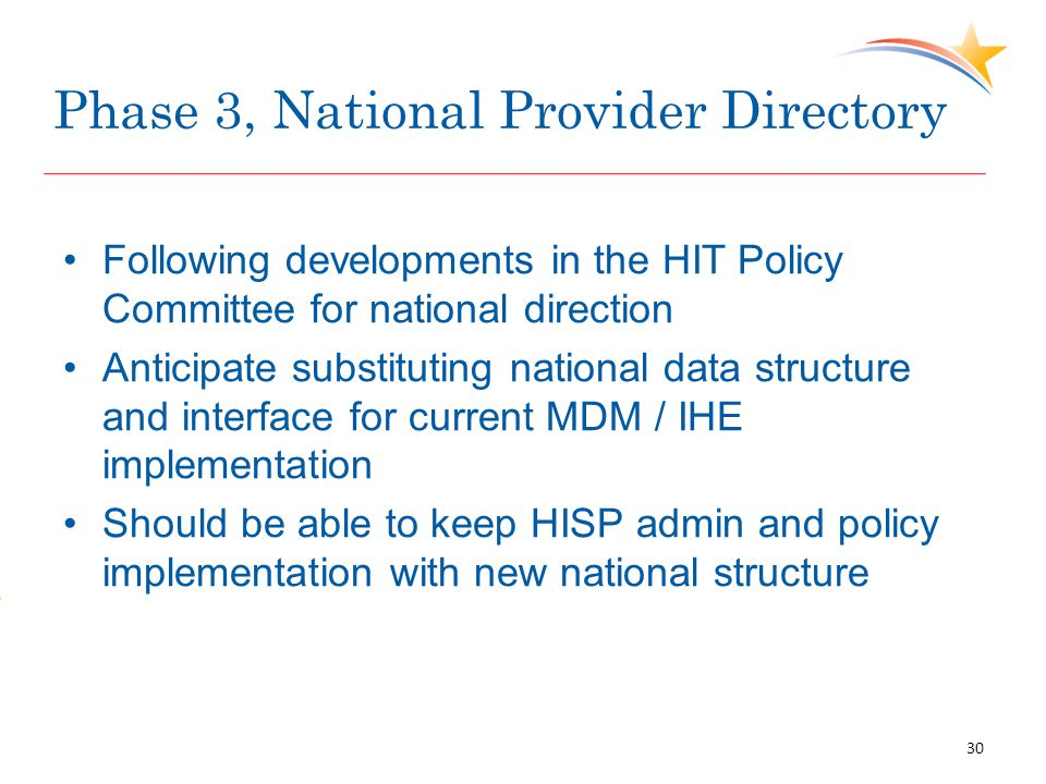 Phase 3, National Provider Directory Following developments in the HIT Policy Committee for national direction Anticipate substituting national data structure and interface for current MDM / IHE implementation Should be able to keep HISP admin and policy implementation with new national structure 30