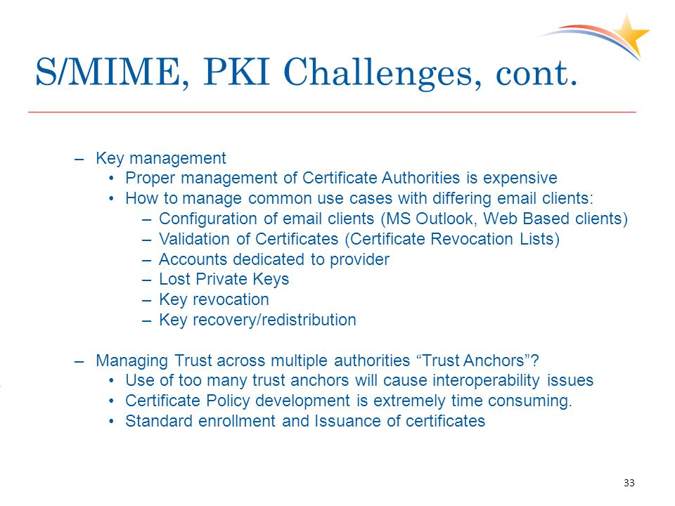 S/MIME, PKI Challenges, cont. –Key management Proper management of Certificate Authorities is expensive How to manage common use cases with differing