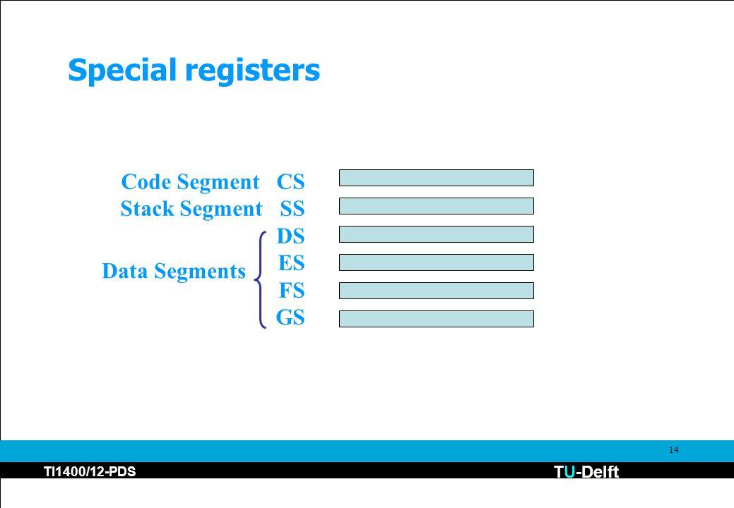 TU-Delft TI1400/12-PDS 14 Special registers Code Segment CS Stack Segment SS DS ES FS GS Data Segments