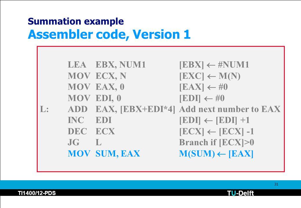 TU-Delft TI1400/12-PDS 31 Summation example Assembler code, Version 1 LEAEBX, NUM1[EBX]  #NUM1 MOVECX, N[EXC]  M(N) MOVEAX, 0[EAX]  #0 MOVEDI, 0[EDI]  #0 L:ADDEAX, [EBX+EDI*4]Add next number to EAX INCEDI[EDI]  [EDI] +1 DECECX[ECX]  [ECX] -1 JGLBranch if [ECX]>0 MOVSUM, EAXM(SUM)  [EAX]