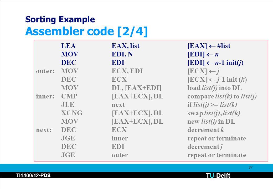 TU-Delft TI1400/12-PDS 37 Sorting Example Assembler code [2/4] LEAEAX, list[EAX]  #list MOVEDI, N[EDI]  n DECEDI [EDI]  n-1 init(j) outer:MOVECX, EDI[ECX]  j DECECX [ECX]  j-1 init (k) MOVDL, [EAX+EDI]load list(j) into DL inner:CMP[EAX+ECX], DLcompare list(k) to list(j) JLEnextif list(j) >= list(k) XCNG[EAX+ECX], DLswap list(j), list(k) MOV[EAX+ECX], DL new list(j) in DL next:DECECXdecrement k JGEinnerrepeat or terminate DECEDIdecrement j JGEouterrepeat or terminate