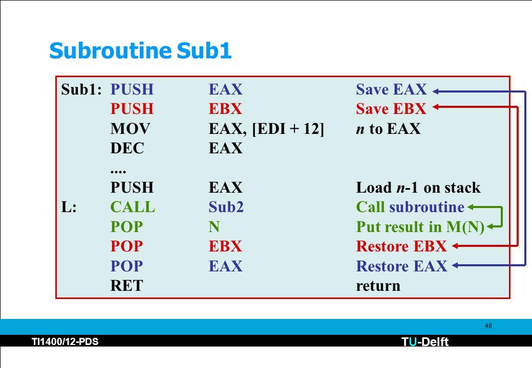TU-Delft TI1400/12-PDS 48 Subroutine Sub1 Sub1:PUSHEAXSave EAX PUSHEBXSave EBX MOVEAX, [EDI + 12]n to EAX DECEAX....