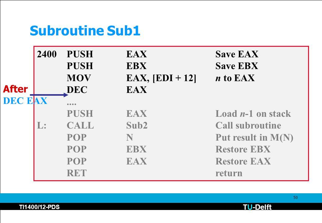 TU-Delft TI1400/12-PDS 50 Subroutine Sub1 2400PUSHEAXSave EAX PUSHEBXSave EBX MOVEAX, [EDI + 12]n to EAX DECEAX....