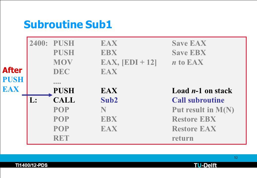 TU-Delft TI1400/12-PDS 52 Subroutine Sub1 2400:PUSHEAXSave EAX PUSHEBXSave EBX MOVEAX, [EDI + 12]n to EAX DECEAX....