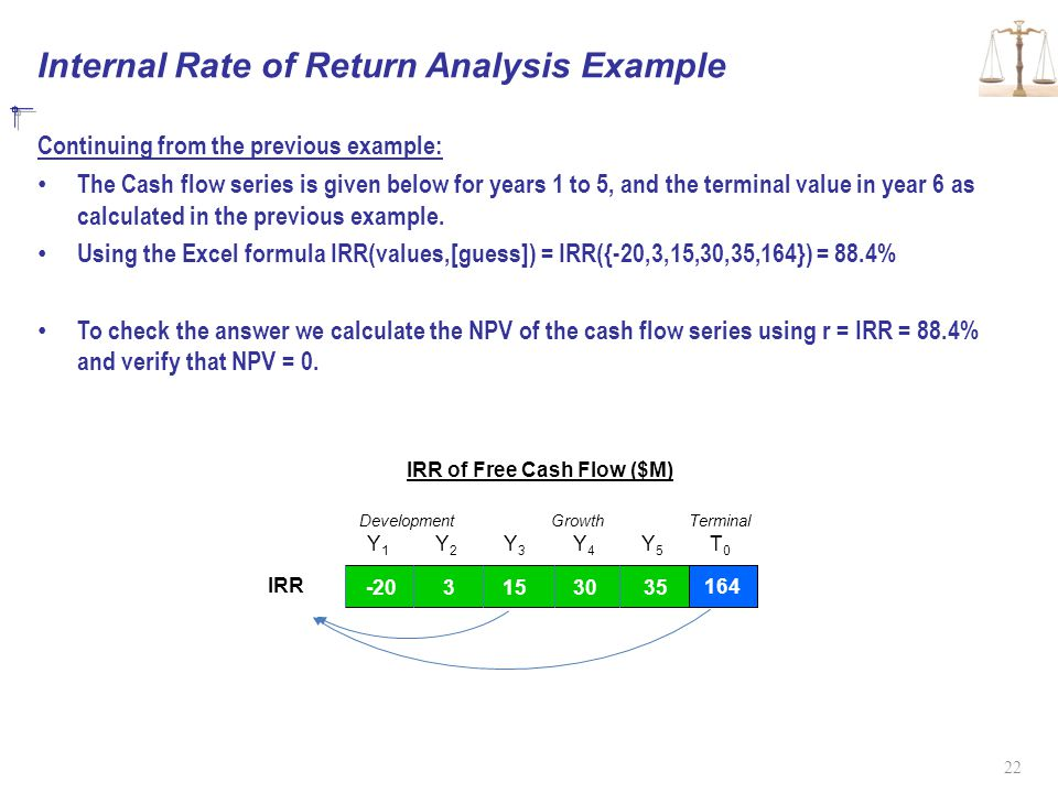 Internal Rate of Return Analysis Example Continuing from the previous example: The Cash flow series is given below for years 1 to 5, and the terminal