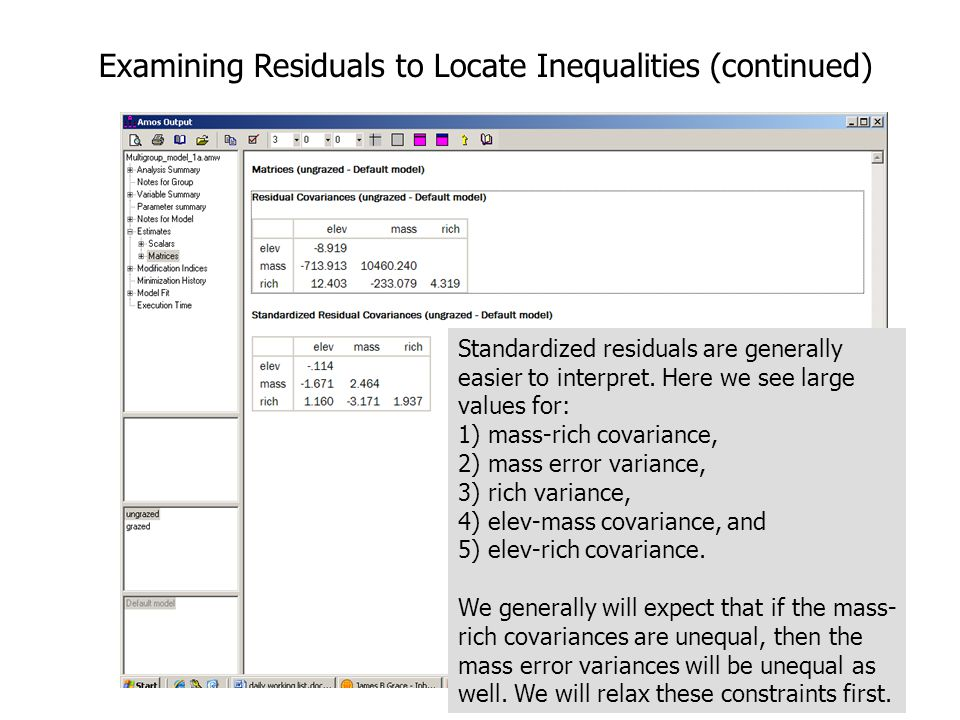 14 Examining Residuals to Locate Inequalities (continued) Standardized residuals are generally easier to interpret.