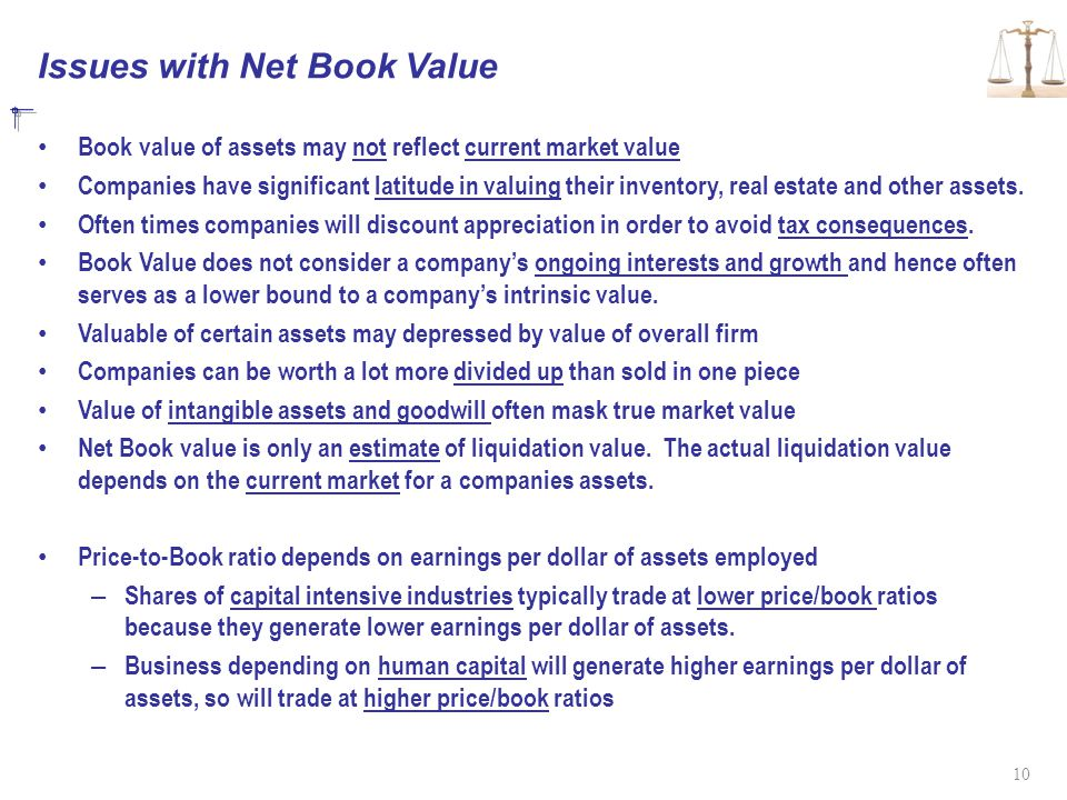 Issues with Net Book Value Book value of assets may not reflect current market value Companies have significant latitude in valuing their inventory, real estate and other assets.