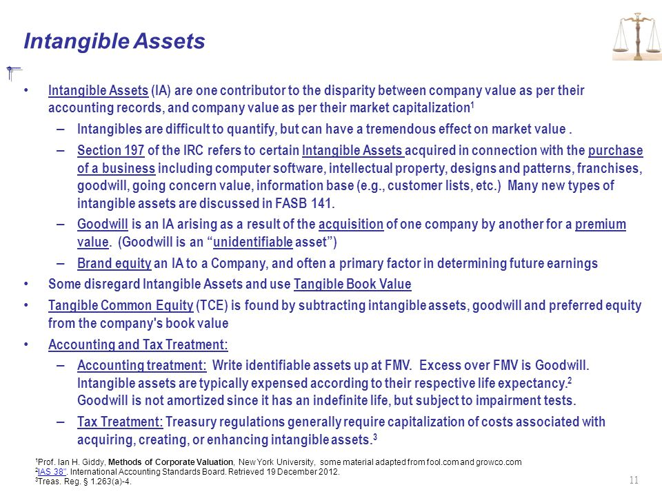 Intangible Assets Intangible Assets (IA) are one contributor to the disparity between company value as per their accounting records, and company value as per their market capitalization 1 – Intangibles are difficult to quantify, but can have a tremendous effect on market value.
