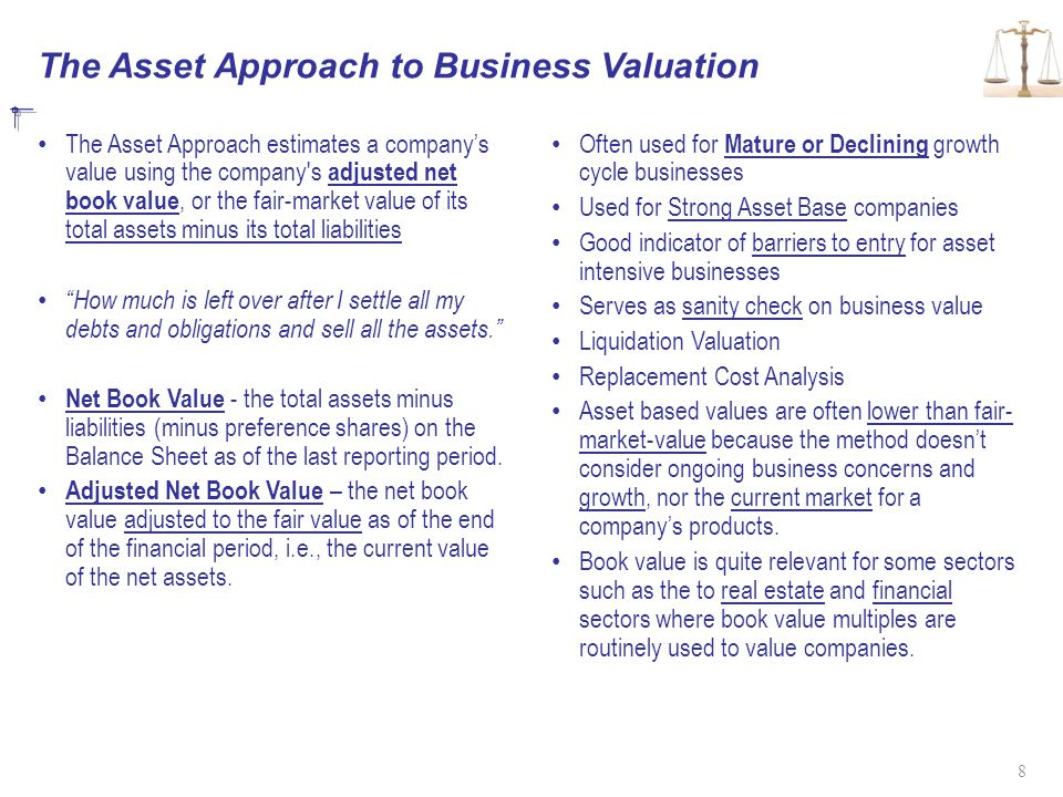 The Asset Approach to Business Valuation The Asset Approach estimates a company's value using the company s adjusted net book value, or the fair-market value of its total assets minus its total liabilities How much is left over after I settle all my debts and obligations and sell all the assets. Net Book Value - the total assets minus liabilities (minus preference shares) on the Balance Sheet as of the last reporting period.