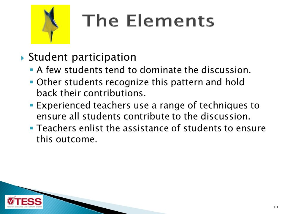  Student participation  A few students tend to dominate the discussion.  Other students recognize this pattern and hold back their contributions. 