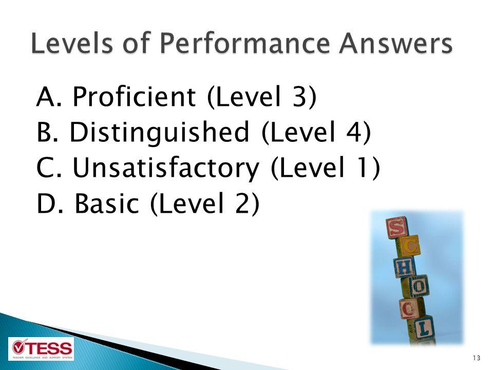 A. Proficient (Level 3) B. Distinguished (Level 4) C. Unsatisfactory (Level 1) D. Basic (Level 2) 13