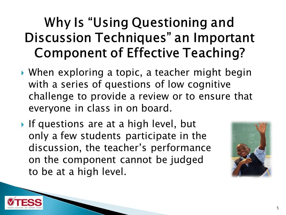  In lessons involving small-group work, the quality of students' questions and discussion in their small groups may be considered as part of the component.