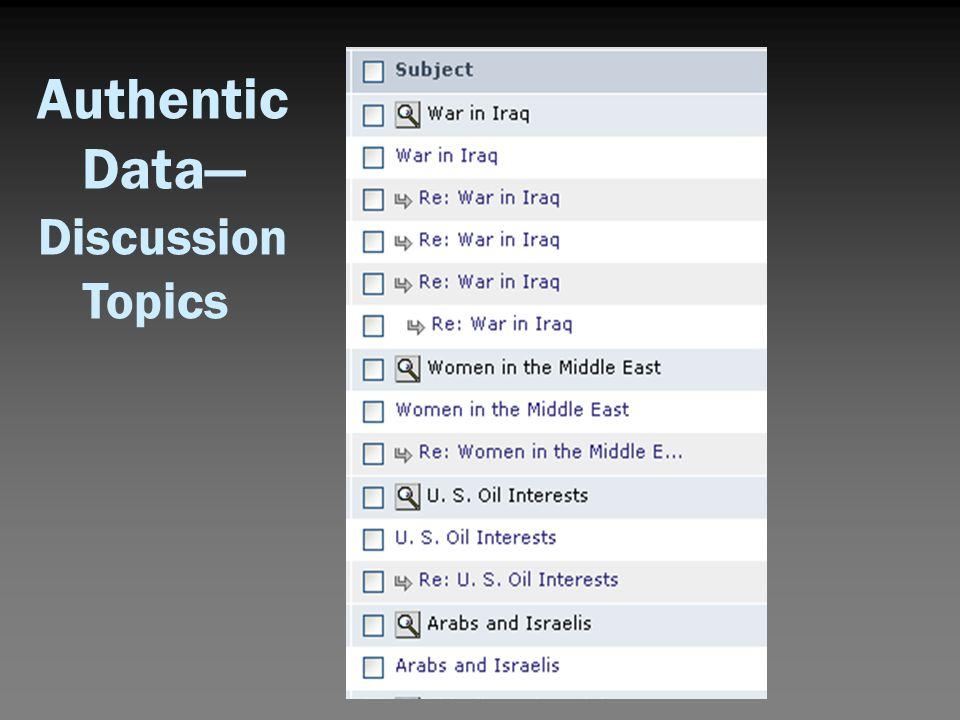 Authentic Data— Discussion Topics