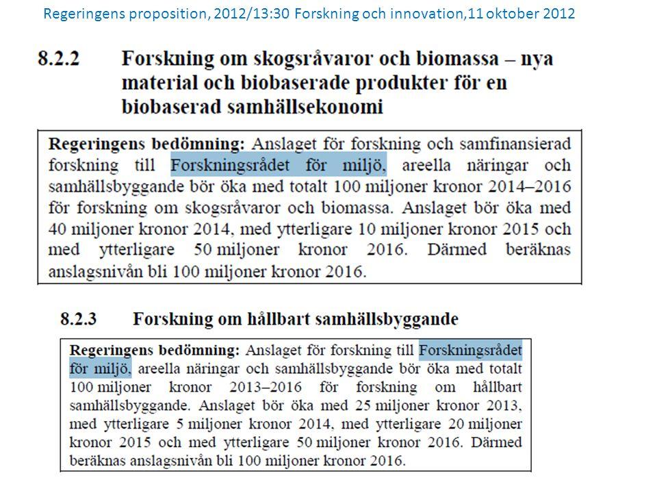Regeringens proposition, 2012/13:30 Forskning och innovation,11 oktober 2012