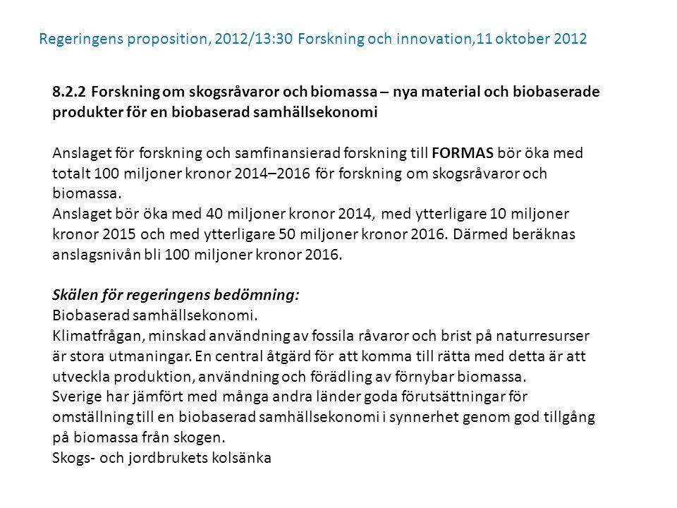 8.2.2 Forskning om skogsråvaror och biomassa – nya material och biobaserade produkter för en biobaserad samhällsekonomi Anslaget för forskning och samfinansierad forskning till FORMAS bör öka med totalt 100 miljoner kronor 2014–2016 för forskning om skogsråvaror och biomassa.