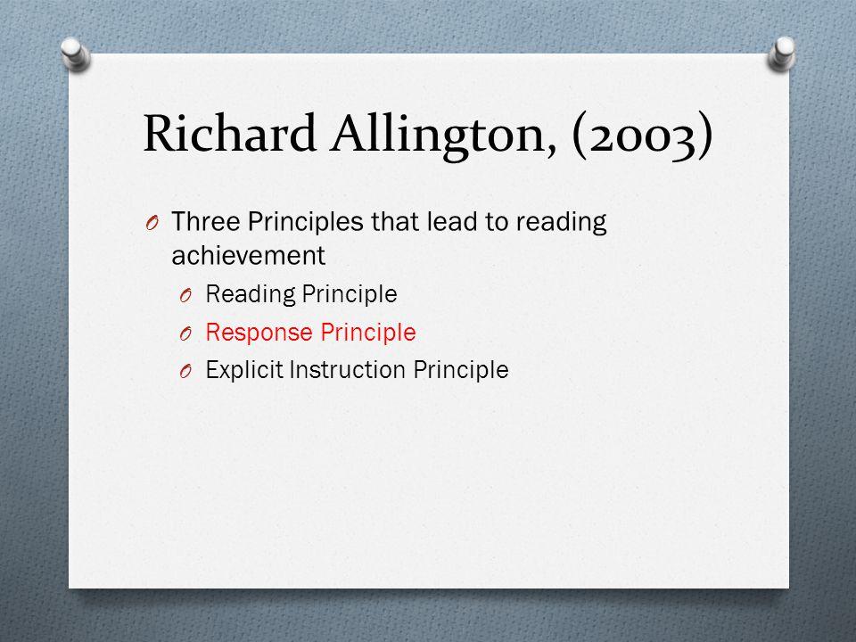 Richard Allington, (2003) O Three Principles that lead to reading achievement O Reading Principle O Response Principle O Explicit Instruction Principle