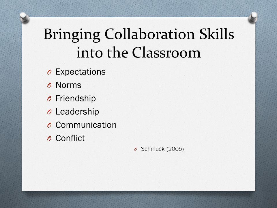 Bringing Collaboration Skills into the Classroom O Expectations O Norms O Friendship O Leadership O Communication O Conflict O Schmuck (2005)