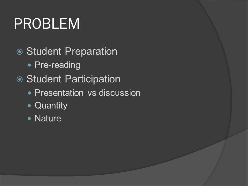 PROBLEM  Student Preparation Pre-reading  Student Participation Presentation vs discussion Quantity Nature