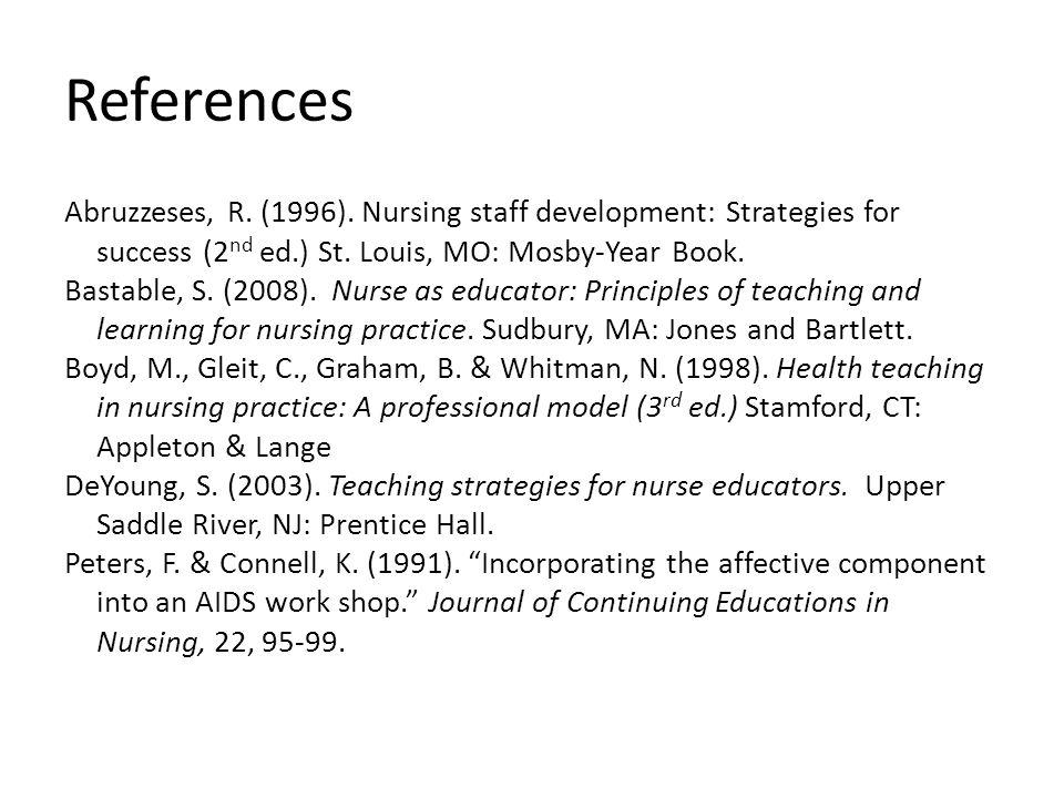 References Abruzzeses, R.(1996). Nursing staff development: Strategies for success (2 nd ed.) St.