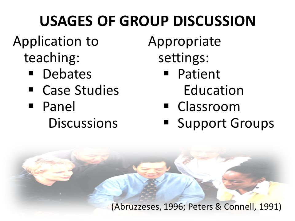 USAGES OF GROUP DISCUSSION Application to teaching:  Debates  Case Studies  Panel Discussions Appropriate settings:  Patient Education  Classroom  Support Groups (Abruzzeses, 1996; Peters & Connell, 1991)