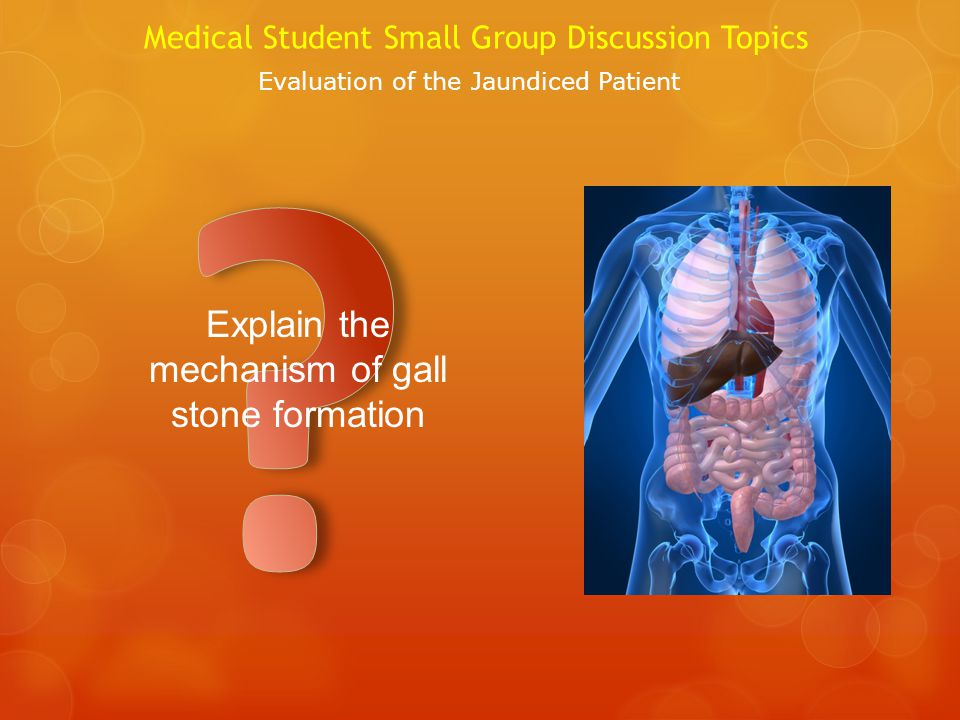 Medical Student Small Group Discussion Topics Evaluation of the Jaundiced Patient Explain the mechanism of gall stone formation