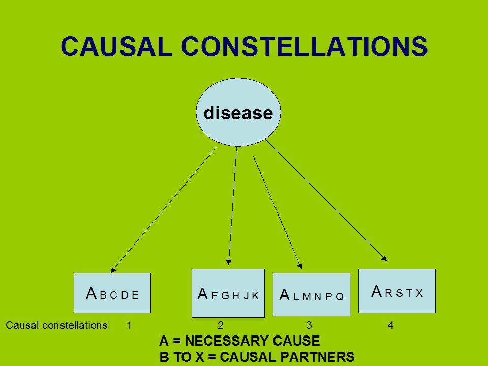 CAUSAL CONSTELLATIONS disease Causal constellations 1 2 3 4 A B C D E A F G H J K A L M N P Q A R S T X A = NECESSARY CAUSE B TO X = CAUSAL PARTNERS
