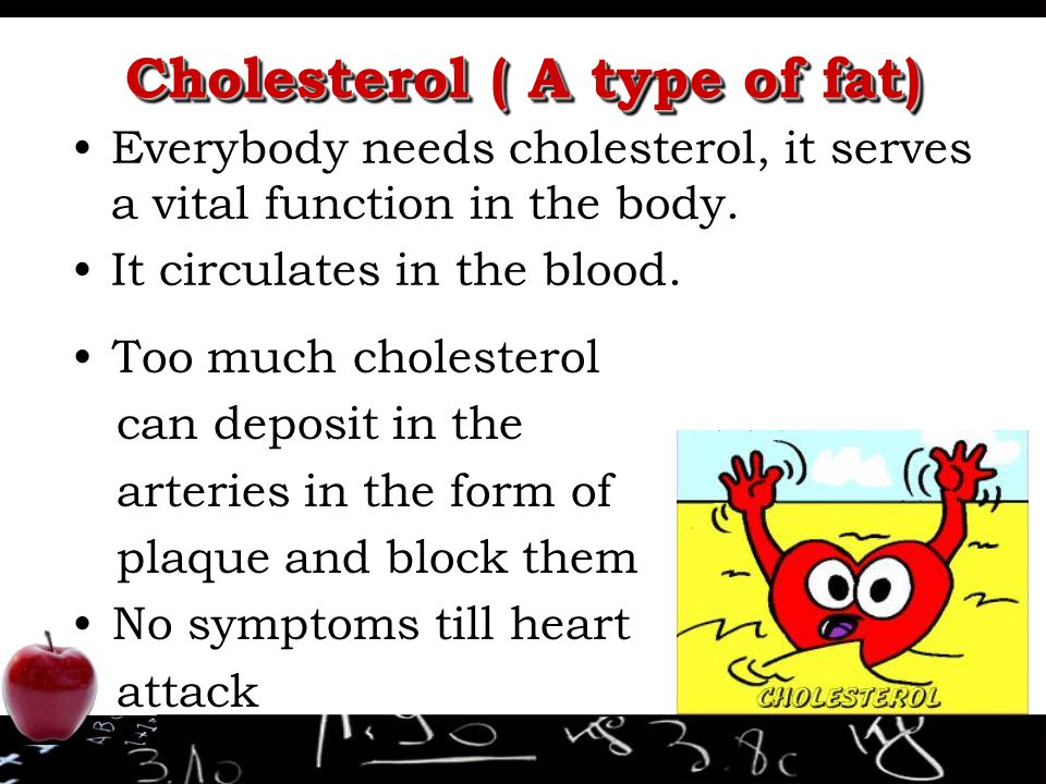 Cholesterol ( A type of fat) Everybody needs cholesterol, it serves a vital function in the body.