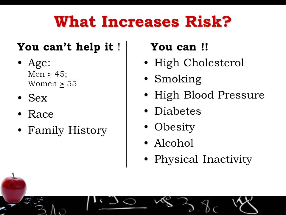 What Increases Risk? You can't help it ! Age: Men > 45; Women > 55 Sex Race Family History You can !! High Cholesterol Smoking High Blood Pressure Dia