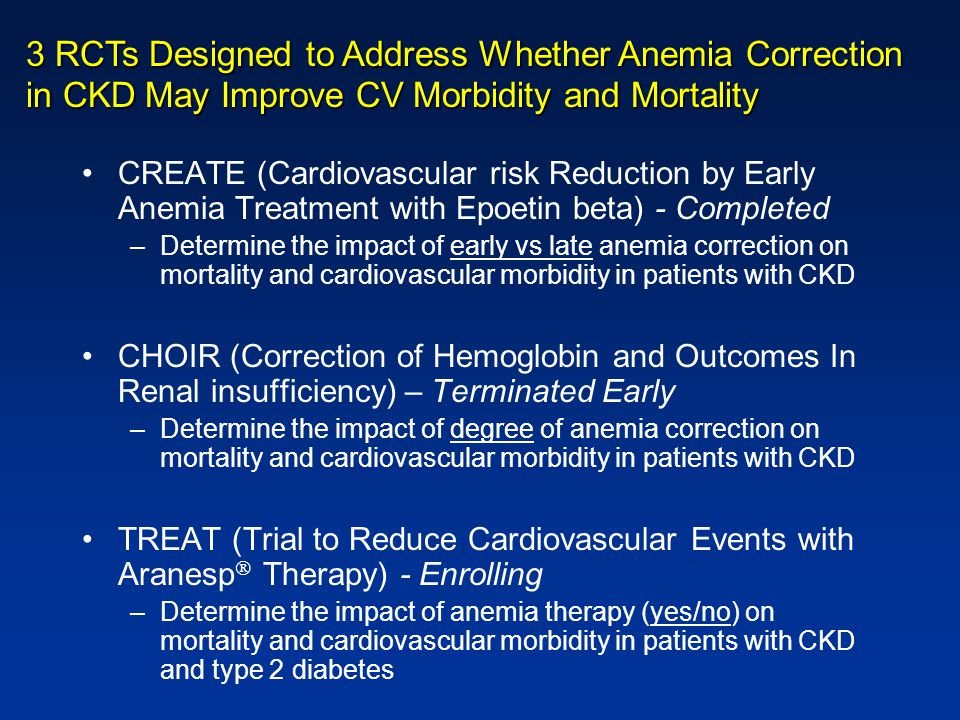 CREATE (Cardiovascular risk Reduction by Early Anemia Treatment with Epoetin beta) - Completed –Determine the impact of early vs late anemia correctio