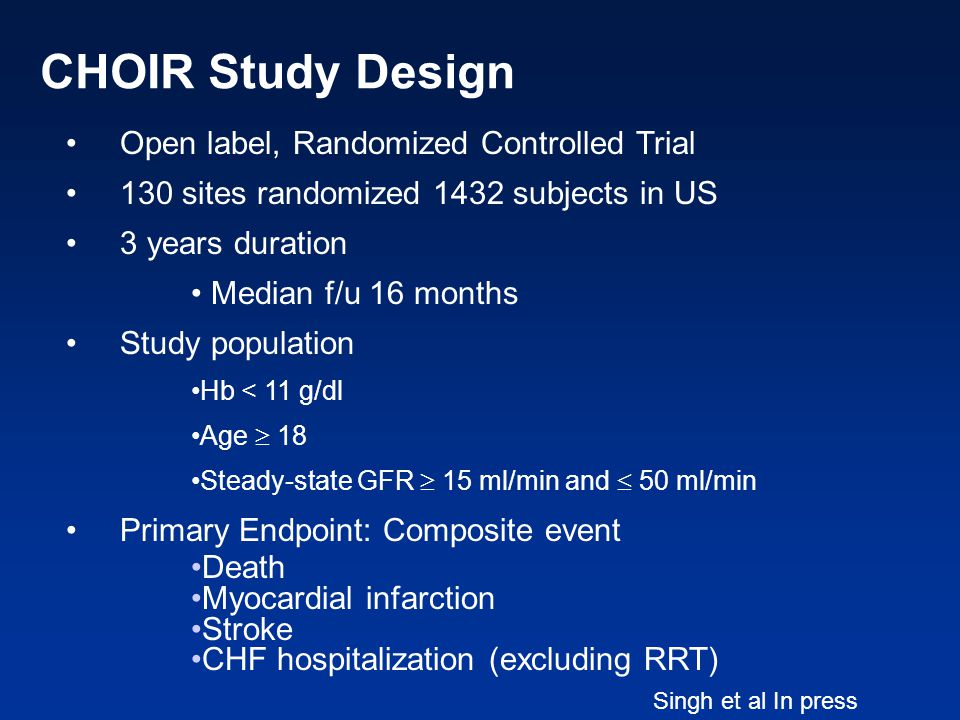 CHOIR Study Design Open label, Randomized Controlled Trial 130 sites randomized 1432 subjects in US 3 years duration Median f/u 16 months Study popula