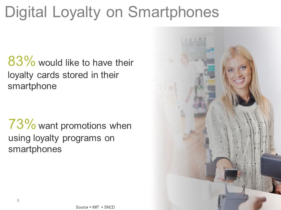8 Digital Loyalty on Smartphones Source = INIT + SNCD 73% want promotions when using loyalty programs on smartphones 83% would like to have their loya
