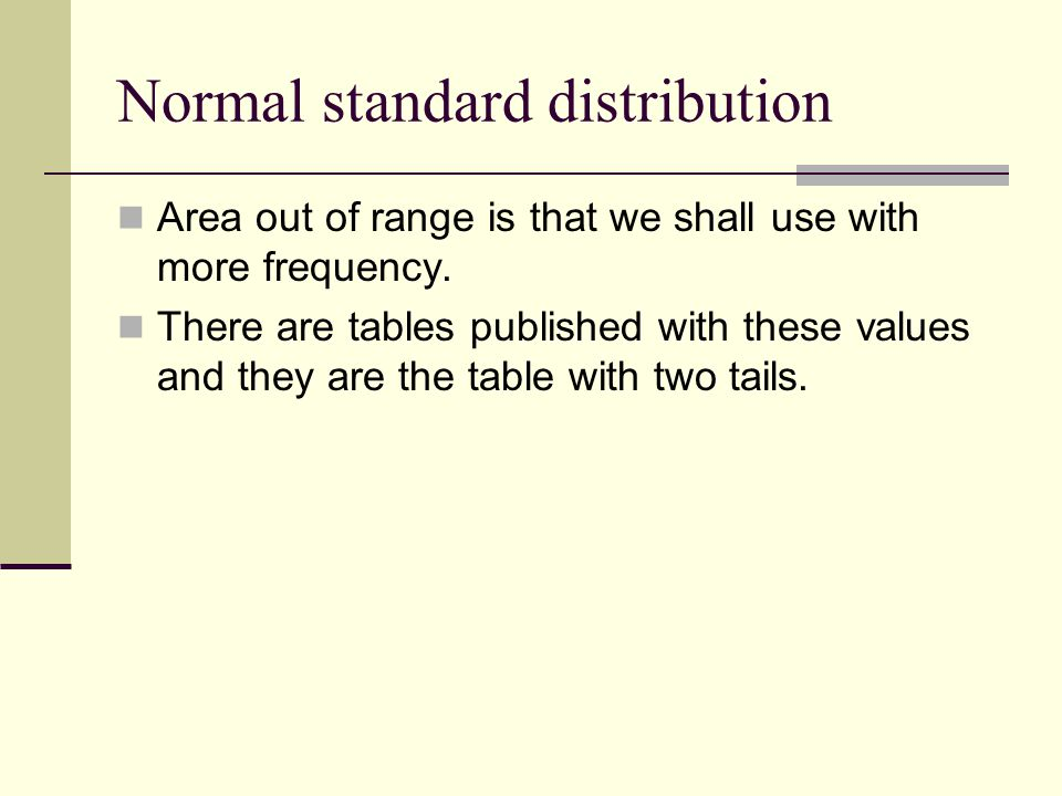 Normal standard distribution Area out of range is that we shall use with more frequency.