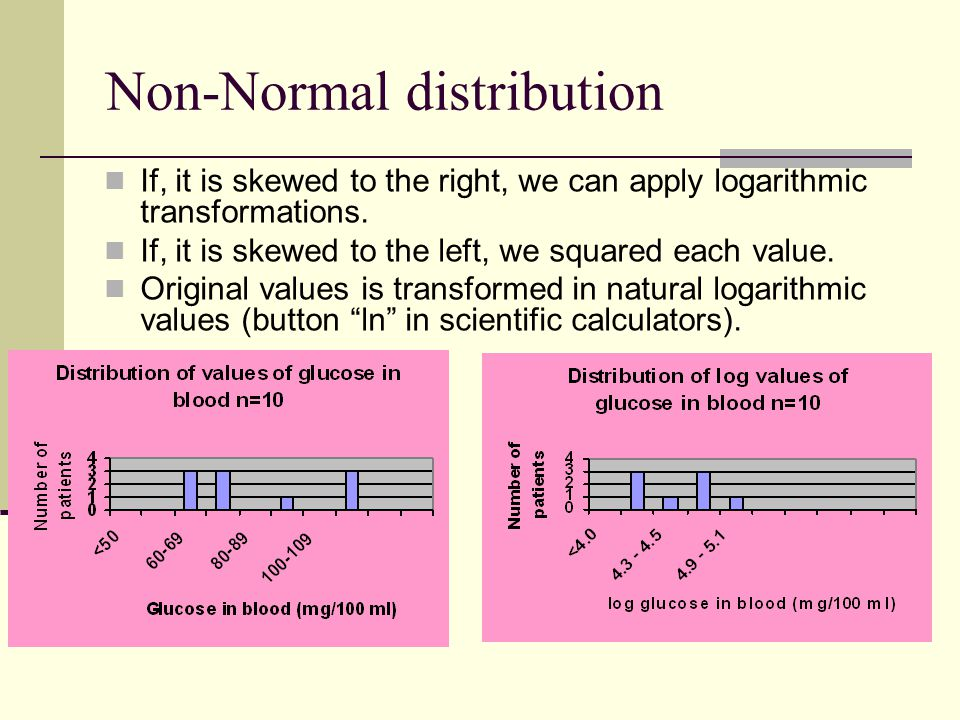 Non-Normal distribution If, it is skewed to the right, we can apply logarithmic transformations.