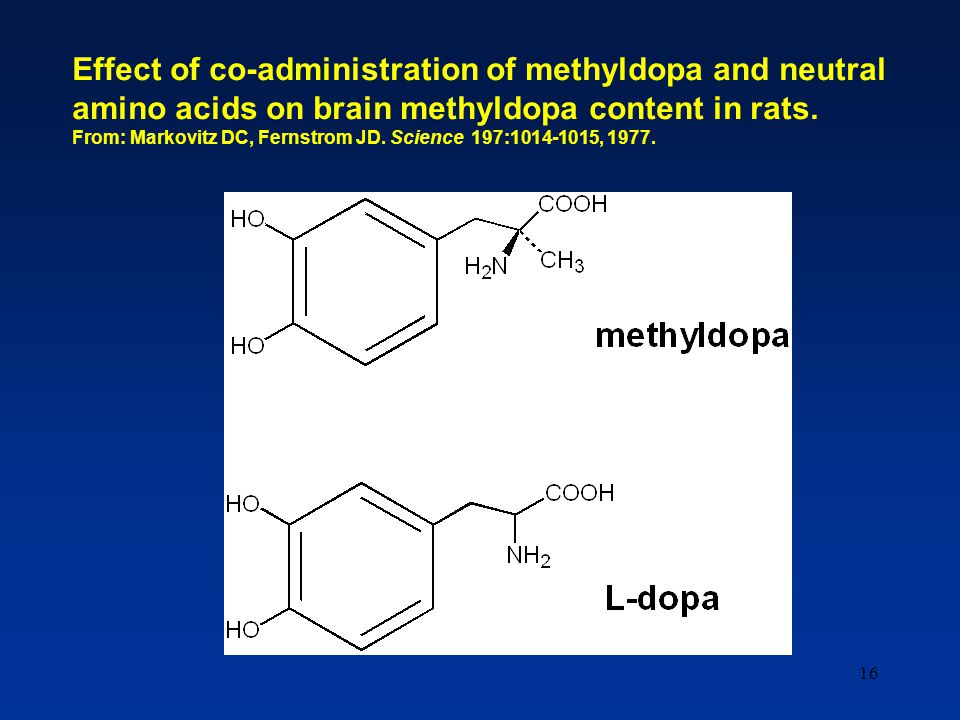16 Effect of co-administration of methyldopa and neutral amino acids on brain methyldopa content in rats. From: Markovitz DC, Fernstrom JD. Science 19