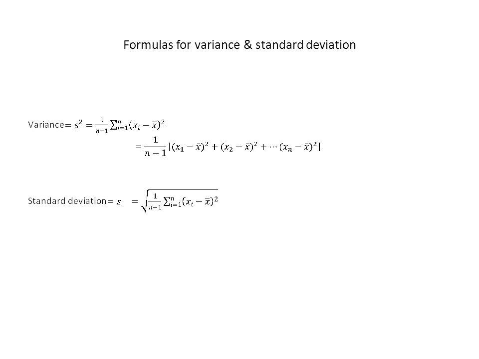 Formulas for variance & standard deviation