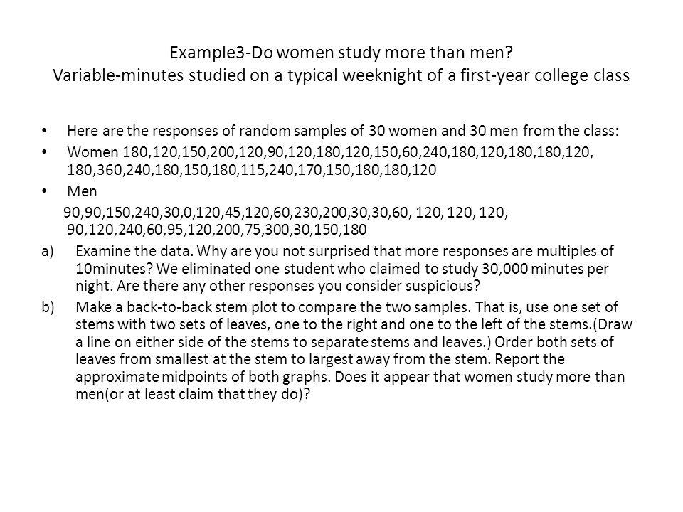 Example3-Do women study more than men.