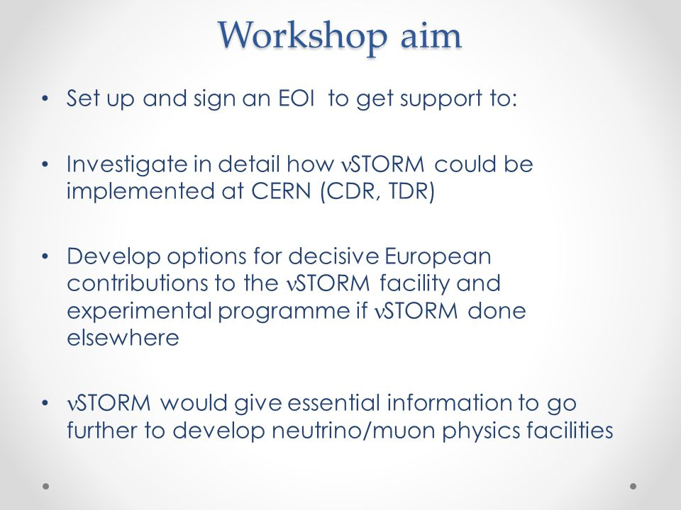 Workshop aim Set up and sign an EOI to get support to: Investigate in detail how STORM could be implemented at CERN (CDR, TDR) Develop options for dec