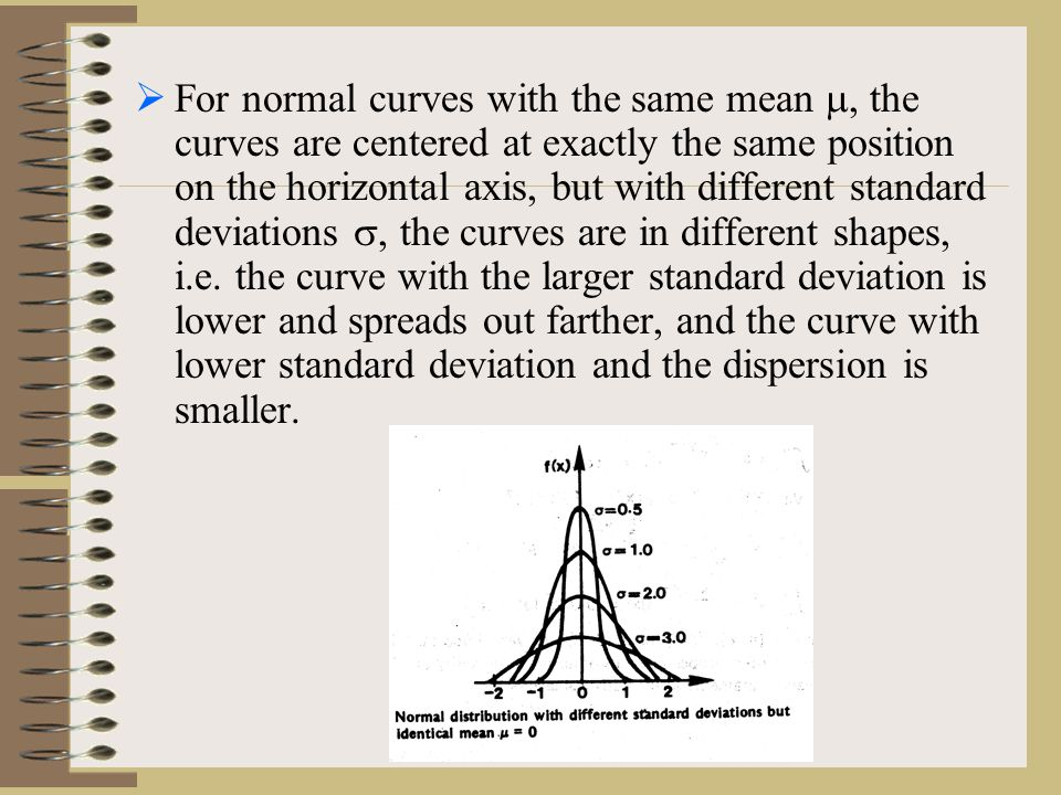  For normal curves with the same mean , the curves are centered at exactly the same position on the horizontal axis, but with different standard deviations , the curves are in different shapes, i.e.