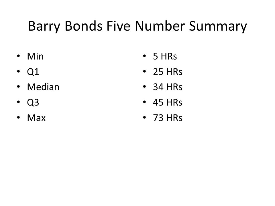 Barry Bonds Five Number Summary Min Q1 Median Q3 Max 5 HRs 25 HRs 34 HRs 45 HRs 73 HRs
