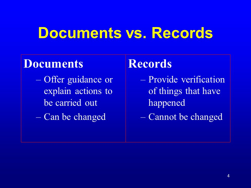 4 Documents vs. Records Documents –Offer guidance or explain actions to be carried out –Can be changed Records –Provide verification of things that ha