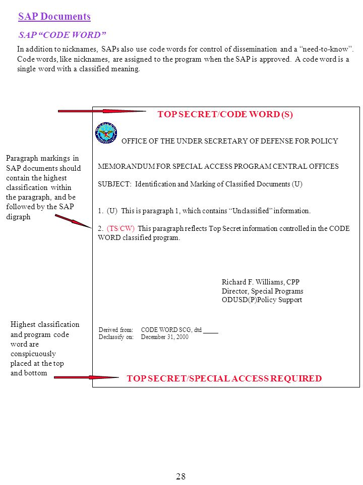 Derived from:CODE WORD SCG, dtd _____ Declassify on:December 31, 2000 TOP SECRET/CODE WORD (S) OFFICE OF THE UNDER SECRETARY OF DEFENSE FOR POLICY TOP